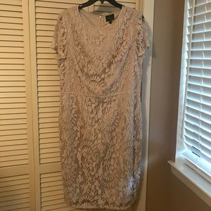 Nude Adrianna Papell lace overlay dress